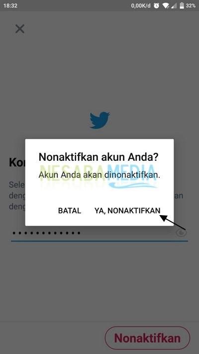 Nonaktif akun twitter via app