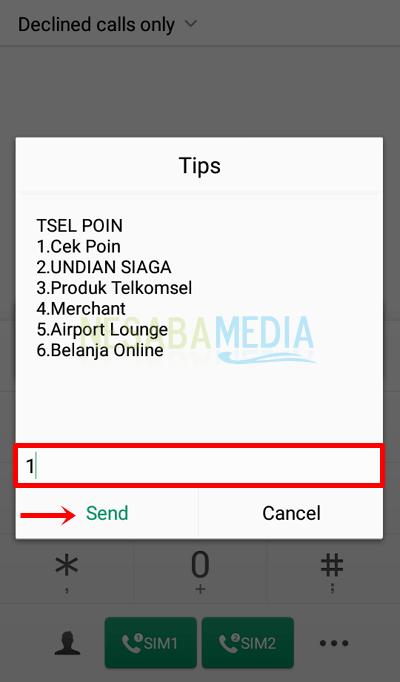 Langkah 2 - pilih menu 1