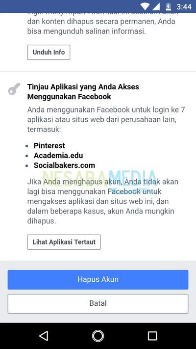 menghapus akun facebook 6