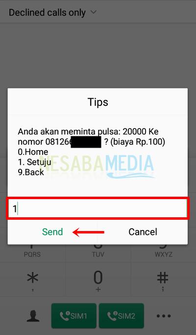 Langkah 5 dial - pilih 1