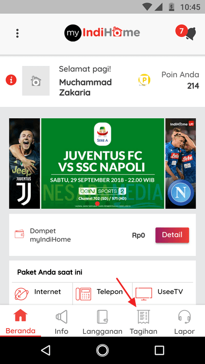 cek tagihan via app 1