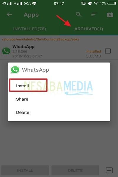 cara backup aplikasi Android