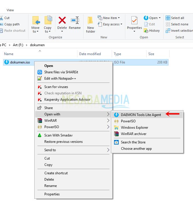 Langkah 3 - klik kanan file iso lalu pilih daemon tools