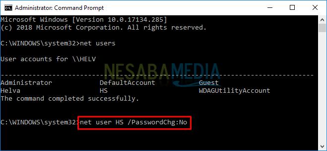 cara mencegah user mengganti password di Windows 10