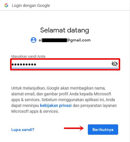 Langkah 6 - isi kata sandi atau password