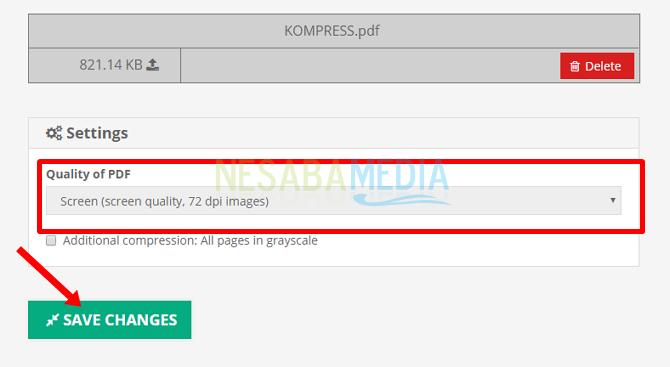 Simpan perubahan - cara memperkecil ukuran file PDF menjadi 300 KB
