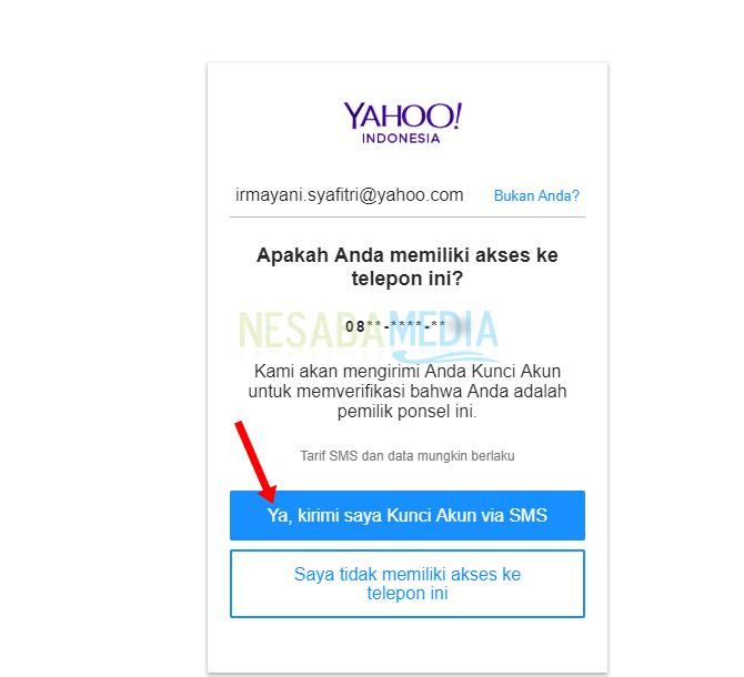 lupa password Yahoo Mail