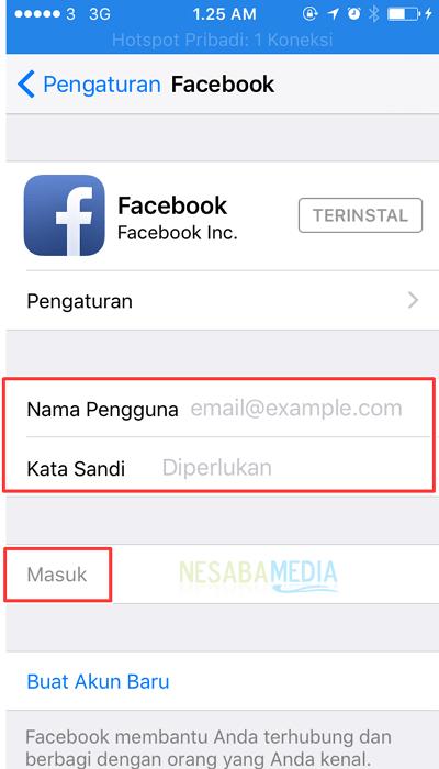 masuk ke akun facebook