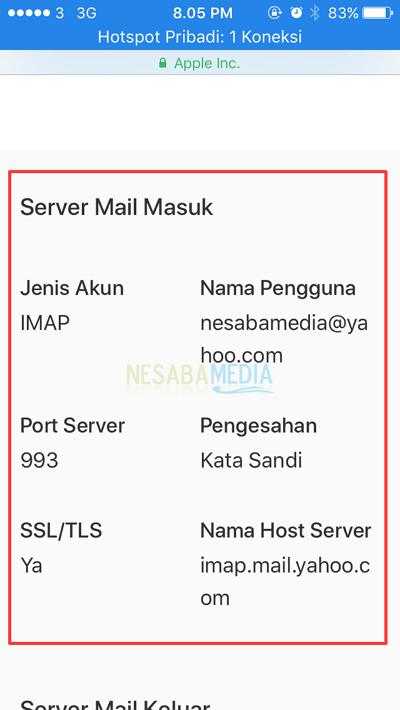 informasi server mail masuk