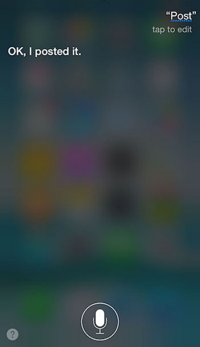cara update status facebook menggunakan Siri di iPhone