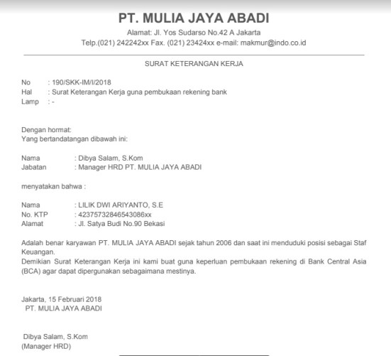 Surat Keterangan untuk Bank