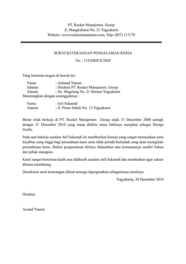 Surat Keterangan Kerja untuk Kuliah