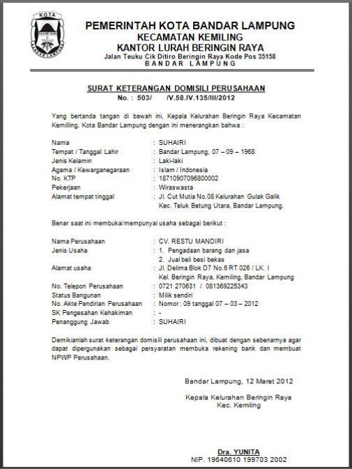 Surat Keterangan untuk Pembuatan NPWP
