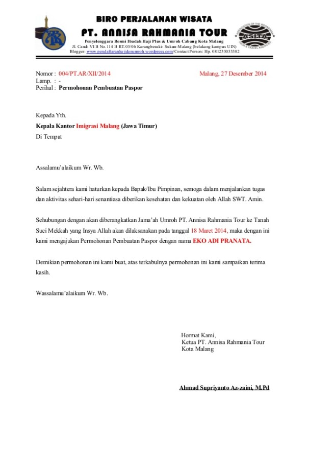 Surat Keterangan Kerja untuk Paspor