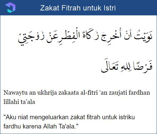 Zakat Fitrah untuk Istri