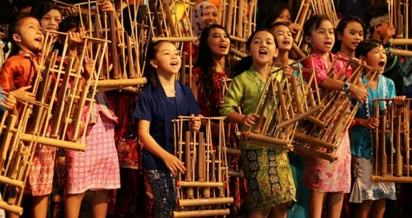 Javanese Angklung Musical Instrument