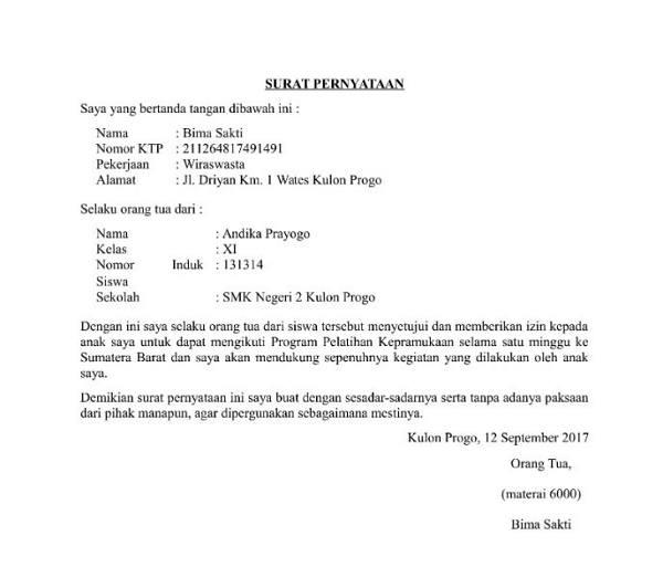 contoh surat pernyataan orangtua
