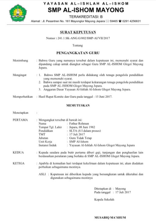 Contoh Surat Keputusan Pengangkatan Guru