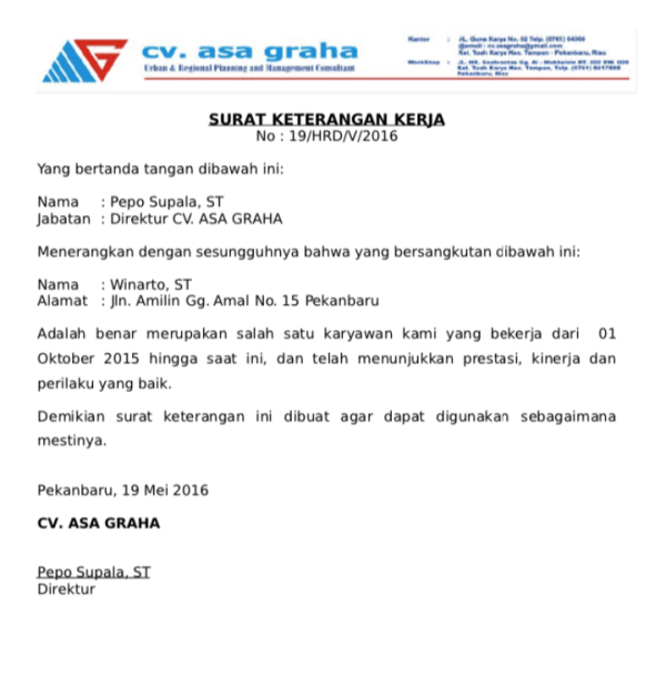 Certificate of Employment for KPR
