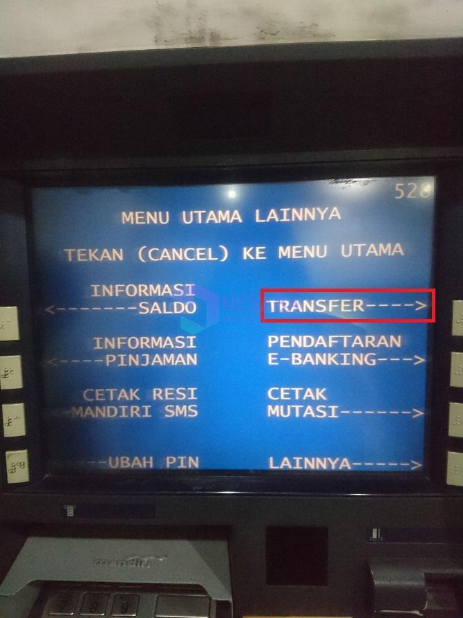 cara transfer uang lewat ATM Mandiri - Klik Transfer