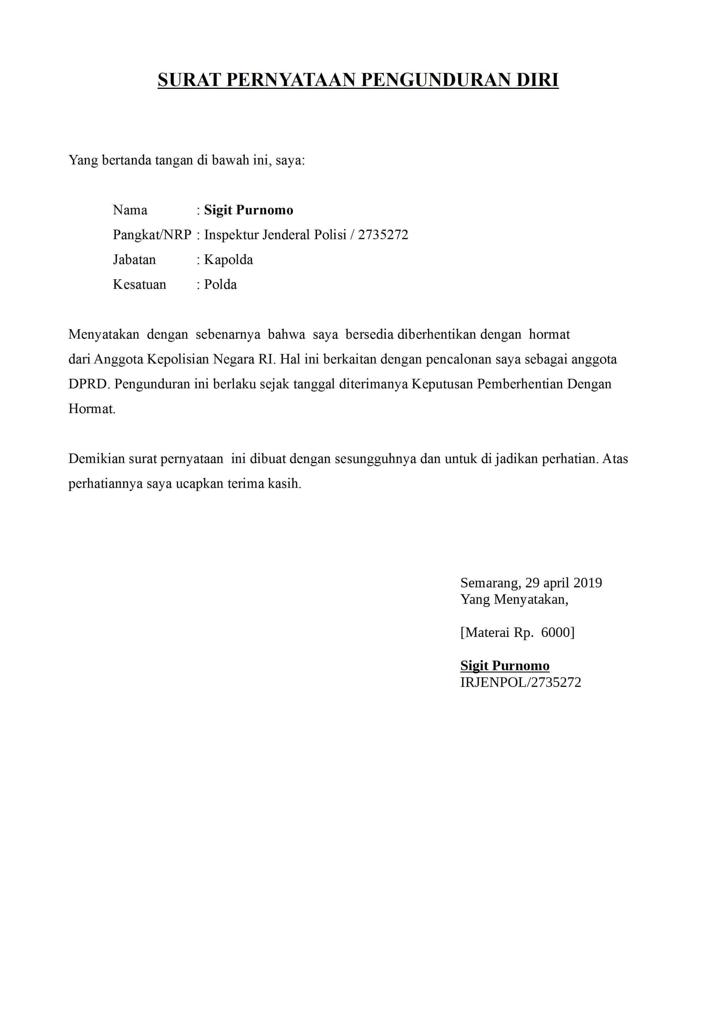 Surat Pengunduran Diri Doc : surat, pengunduran, Contoh, Surat, Pengunduran, Resign, Kerja, [+File