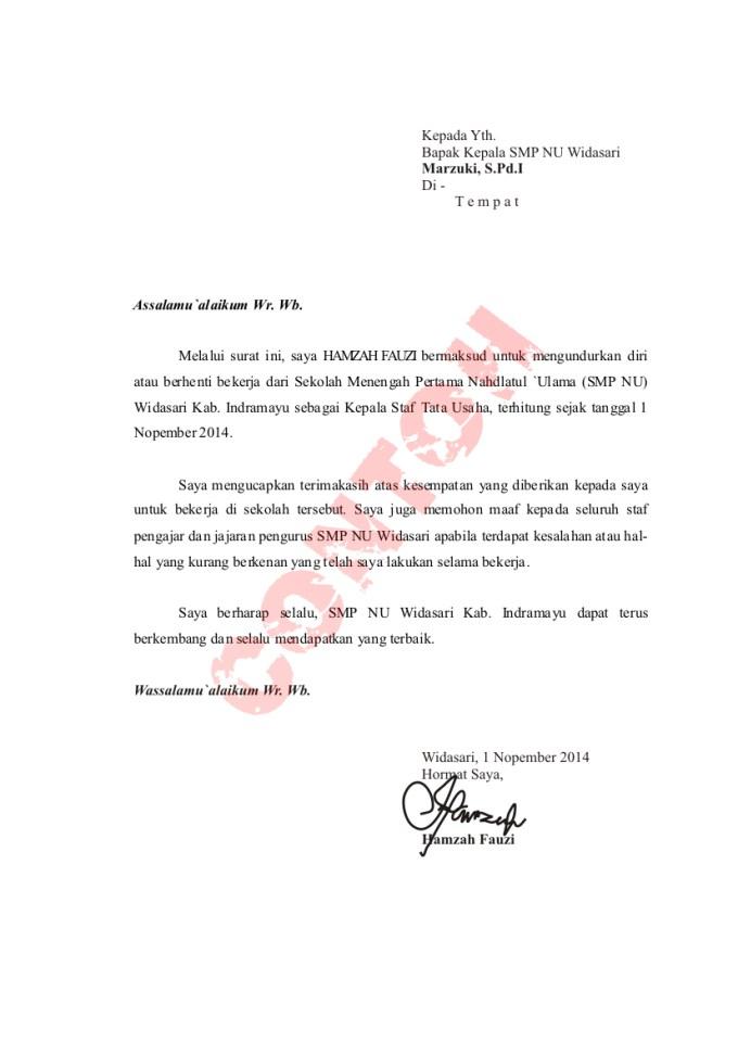 surat pengunduran diri kantor