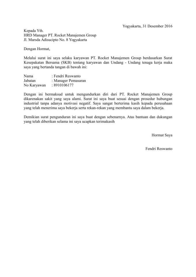 Contoh Surat Resign dari Karyawan