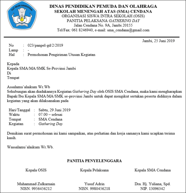official letter of organization