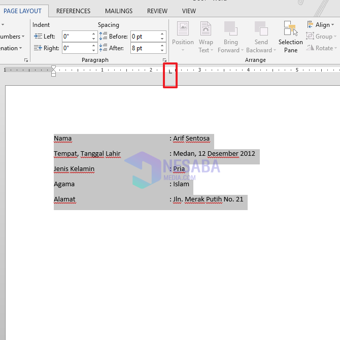 cara merapikan titik dua di Word dengan menahan mouse