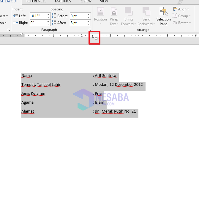 tab indent
