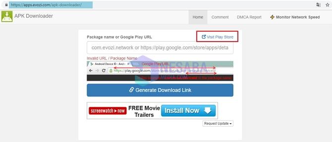 cara download aplikasi play store di laptop lewat Evozi APK Dowloader