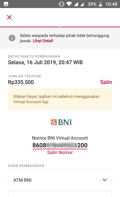 nomor virtual account BNI