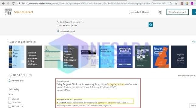 Pilih jurnal sciencedirect