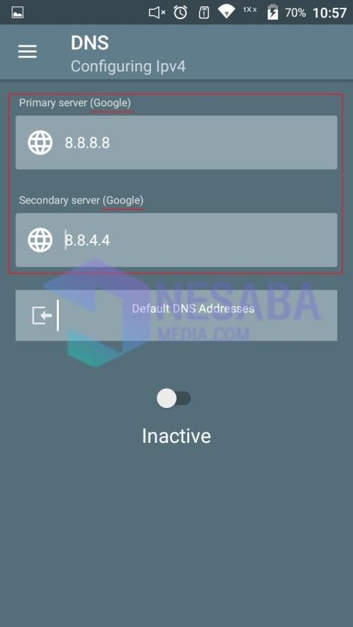 cara mengganti DNS android dengan DNS Changer