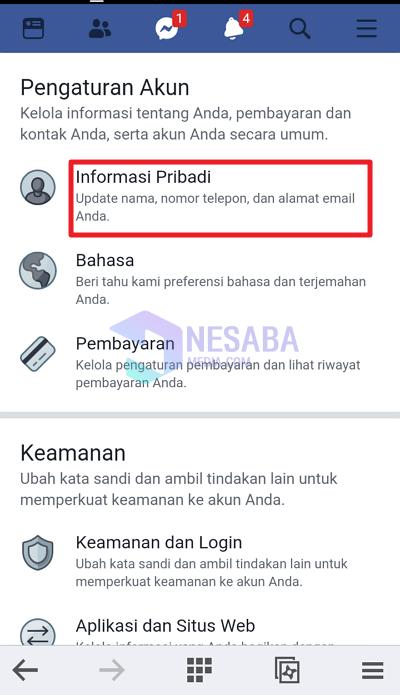 klik informasi pribadi