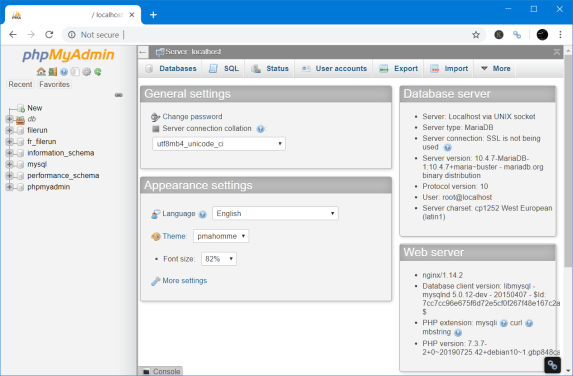 Download the latest phpMyAdmin