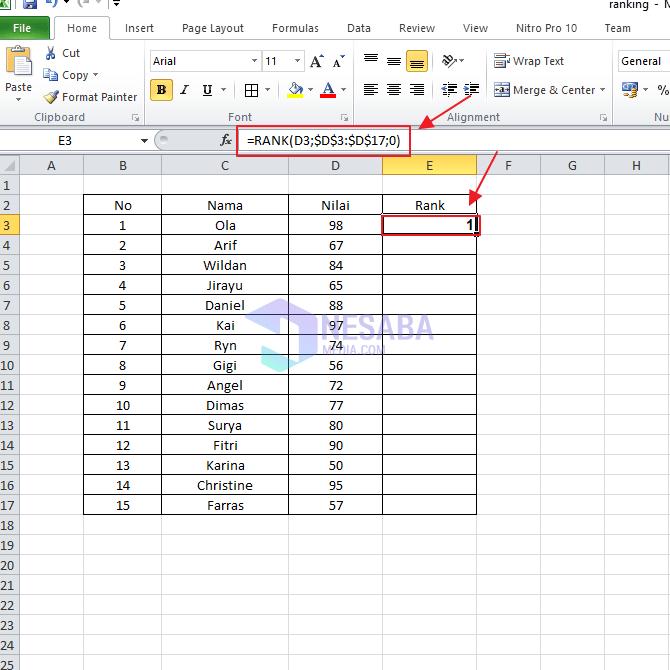 Cara Merangking di Microsoft Excel