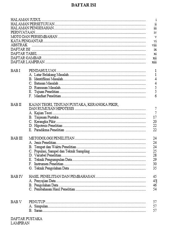 Kenali Contoh Daftar Isi Skripsi Yang Benar Tips Membuatnya