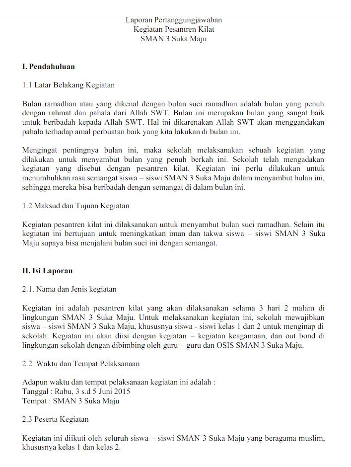 We did not find results for: Contoh Laporan Kegiatan Pesantren Ramadhan - Seputar Laporan
