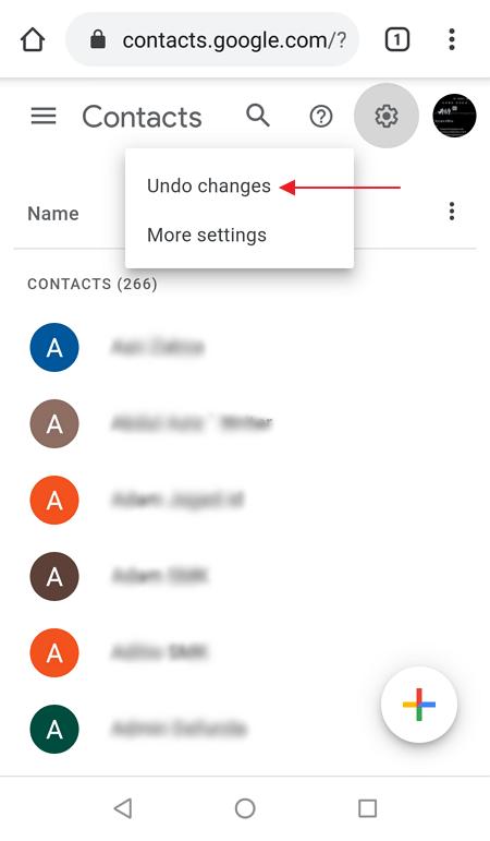 cara mengembalikan kontak hp yang terhapus dengan Google Contacts
