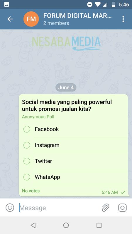 Cara Membuat Polling Di Telegram di HP Android