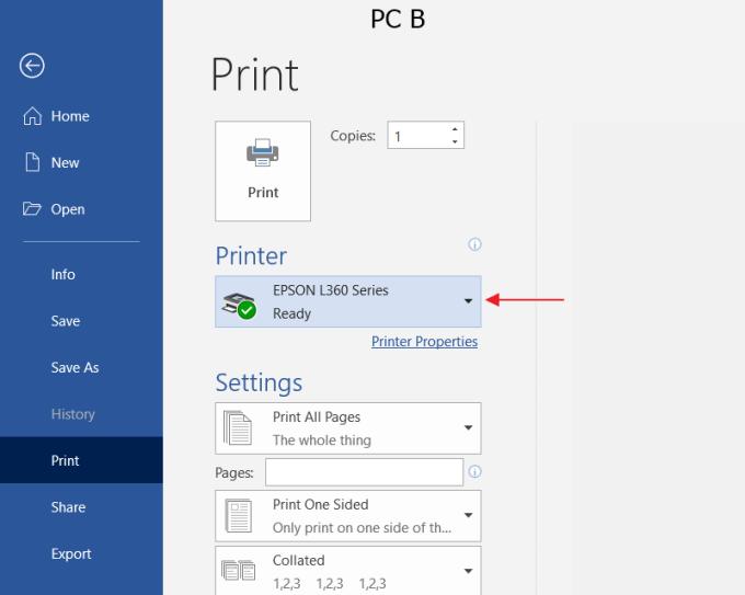 Setting PC B 5