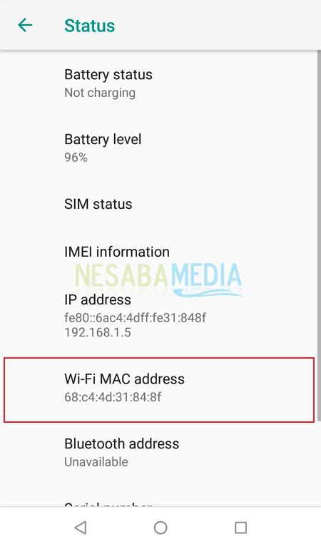 cara melihat MAC Address di android