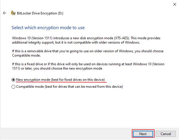 pilih New encryption mode