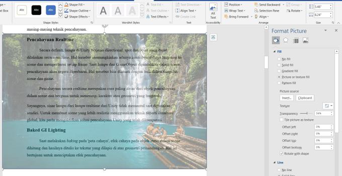 Membuat Gambar di Word Jadi Transparan 0