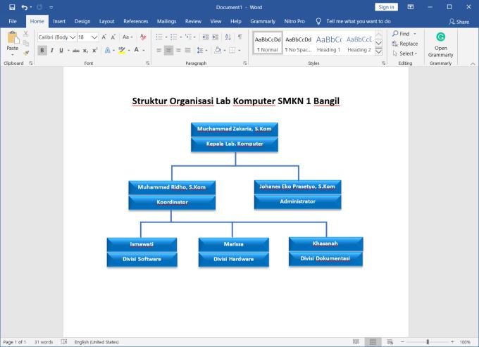 cara membuat struktur organisasi di microsoft word yang rapi