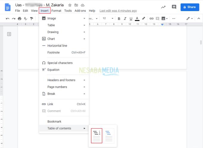 Membuat Daftar Isi Google Docs 5