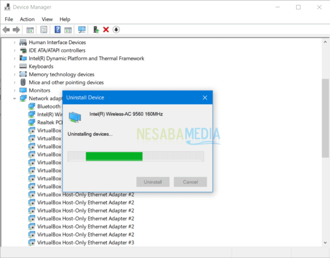 proses uninstall driver WiFi