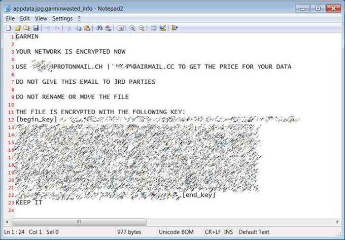 Readme Pada File Ransomware Garmin