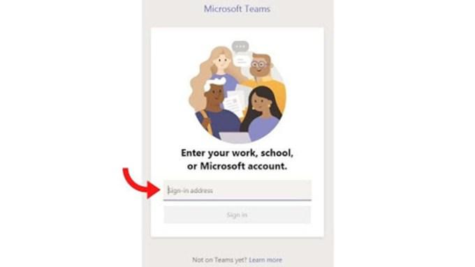 Tampilan Login Microsoft Teams